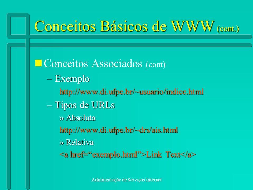 Administração de Serviços Internet Conceitos Básicos de WWW (cont.) Conceitos Associados (cont) –Exemplo http://www.di.ufpe.br/~usuario/indice.html –T