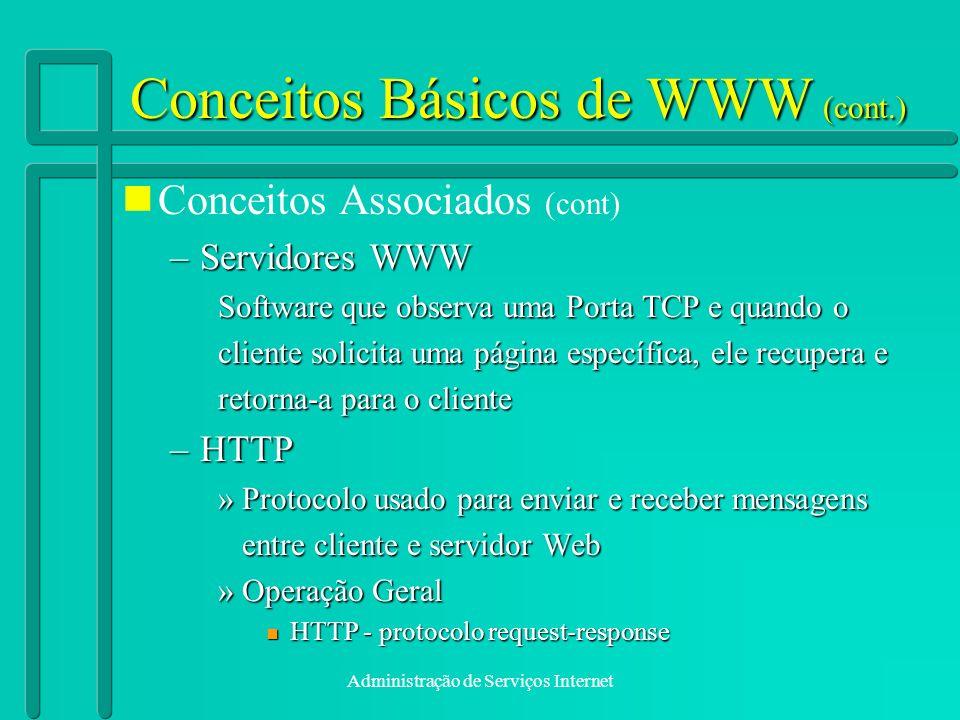 Administração de Serviços Internet Conceitos Básicos de WWW (cont.) Conceitos Associados (cont) –Servidores WWW Software que observa uma Porta TCP e q