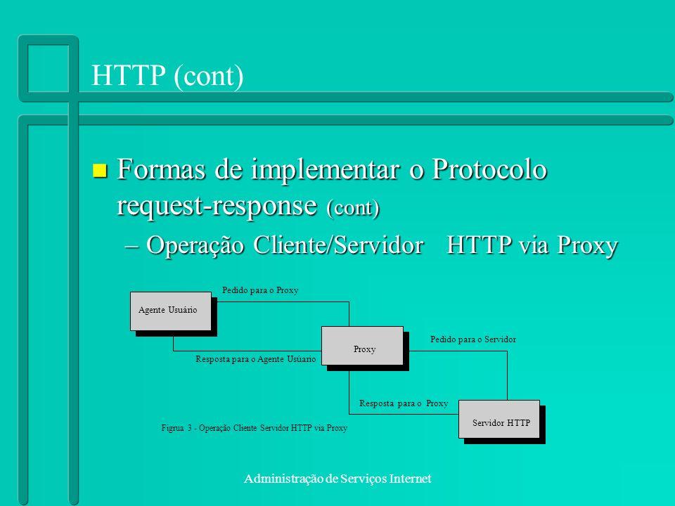 Administração de Serviços Internet HTTP (cont) n Formas de implementar o Protocolo request-response (cont) –Operação Cliente/Servidor HTTP via Proxy A