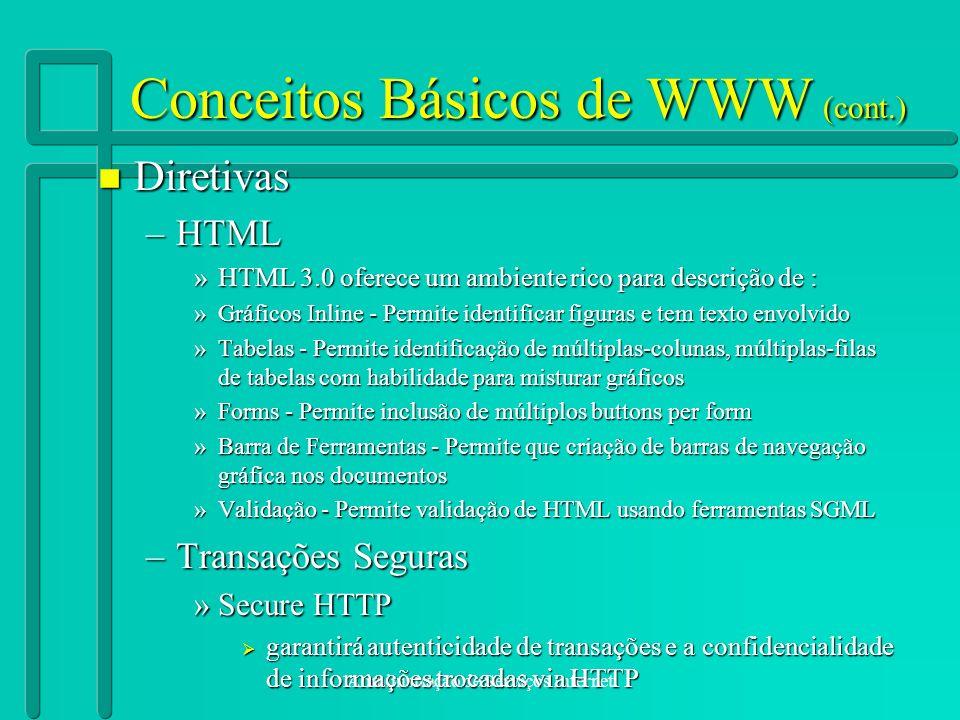 Administração de Serviços Internet Conceitos Básicos de WWW (cont.) n Diretivas –HTML »HTML 3.0 oferece um ambiente rico para descrição de : »Gráficos