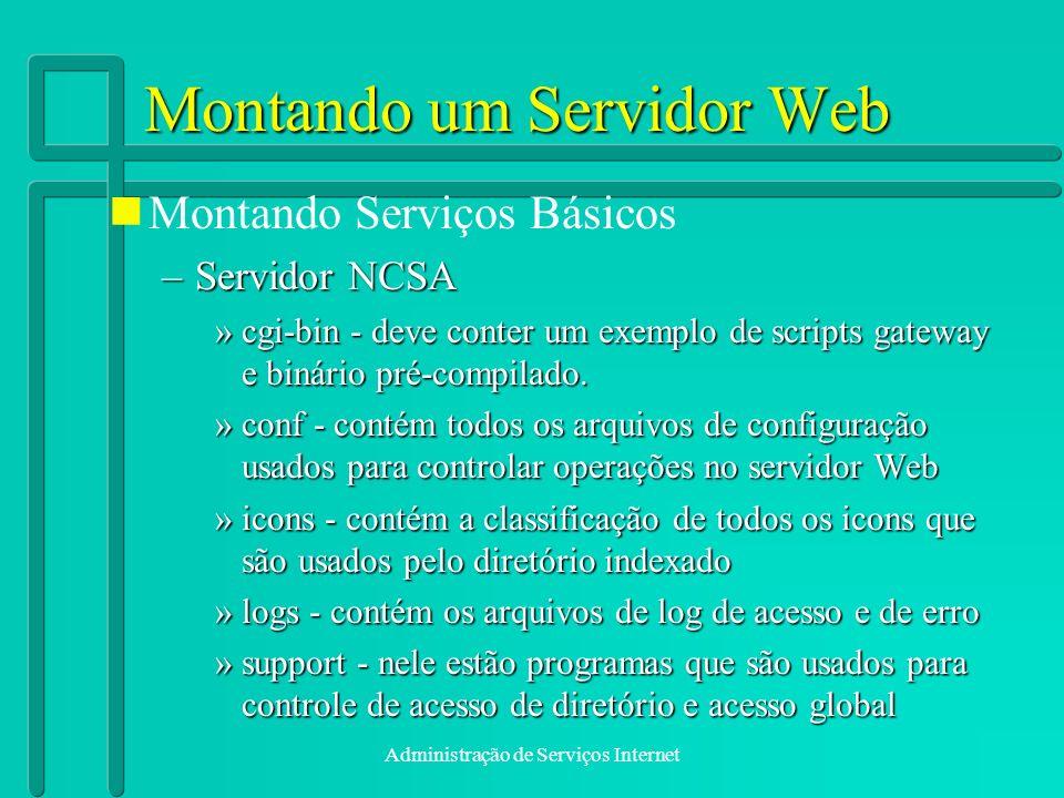 Administração de Serviços Internet Montando um Servidor Web Montando Serviços Básicos –Servidor NCSA »cgi-bin - deve conter um exemplo de scripts gate
