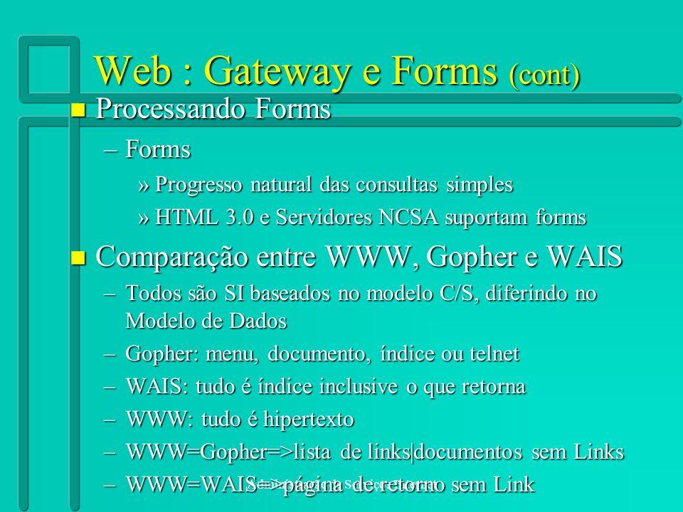 Administração de Serviços Internet Web : Gateway e Forms (cont) n Processando Forms –Forms »Progresso natural das consultas simples »HTML 3.0 e Servid