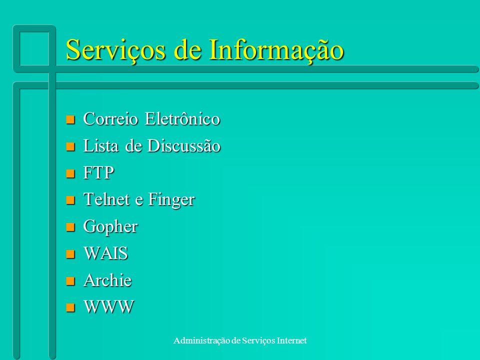 Administração de Serviços Internet Serviços de Informação n Correio Eletrônico n Lista de Discussão n FTP n Telnet e Finger n Gopher n WAIS n Archie n