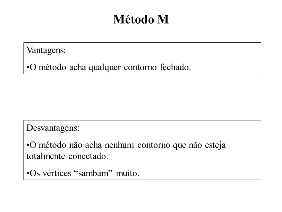 Método M Desvantagens: O método não acha nenhum contorno que não esteja totalmente conectado. Os vértices sambam muito. Vantagens: O método acha qualq