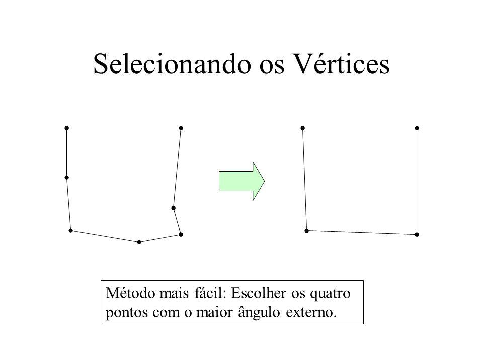 Selecionando os Vértices Método mais fácil: Escolher os quatro pontos com o maior ângulo externo.