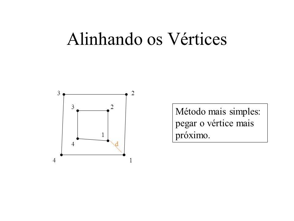 Alinhando os Vértices 1 d 1 2 2 3 3 4 4 Método mais simples: pegar o vértice mais próximo.