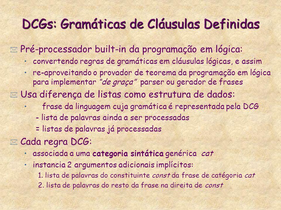 DCGs: Gramáticas de Cláusulas Definidas * Pré-processador built-in da programação em lógica: convertendo regras de gramáticas em cláusulas lógicas, e assim re-aproveitando o provador de teorema da programação em lógica para implementar de graça parser ou gerador de frases * Usa diferença de listas como estrutura de dados: frase da linguagem cuja gramática é representada pela DCG - lista de palavras ainda a ser processadas = listas de palavras já processadas * Cada regra DCG: associada a uma categoria sintática genérica cat instancia 2 argumentos adicionais implícitos: 1.