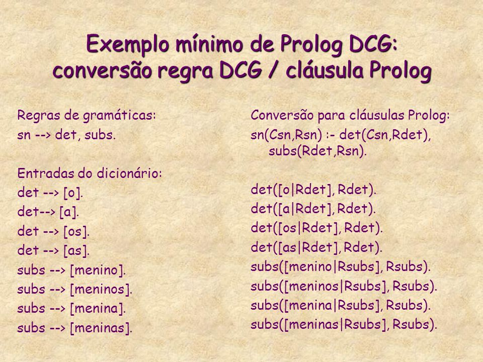 Exemplo mínimo de Prolog DCG: conversão regra DCG / cláusula Prolog Regras de gramáticas: sn --> det, subs. Entradas do dicionário: det --> [o]. det--