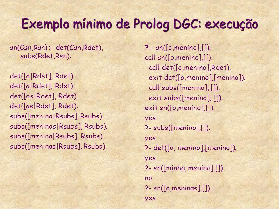 Exemplo mínimo de Prolog DGC: execução sn(Csn,Rsn) :- det(Csn,Rdet), subs(Rdet,Rsn). det([o|Rdet], Rdet). det([a|Rdet], Rdet). det([os|Rdet], Rdet). d