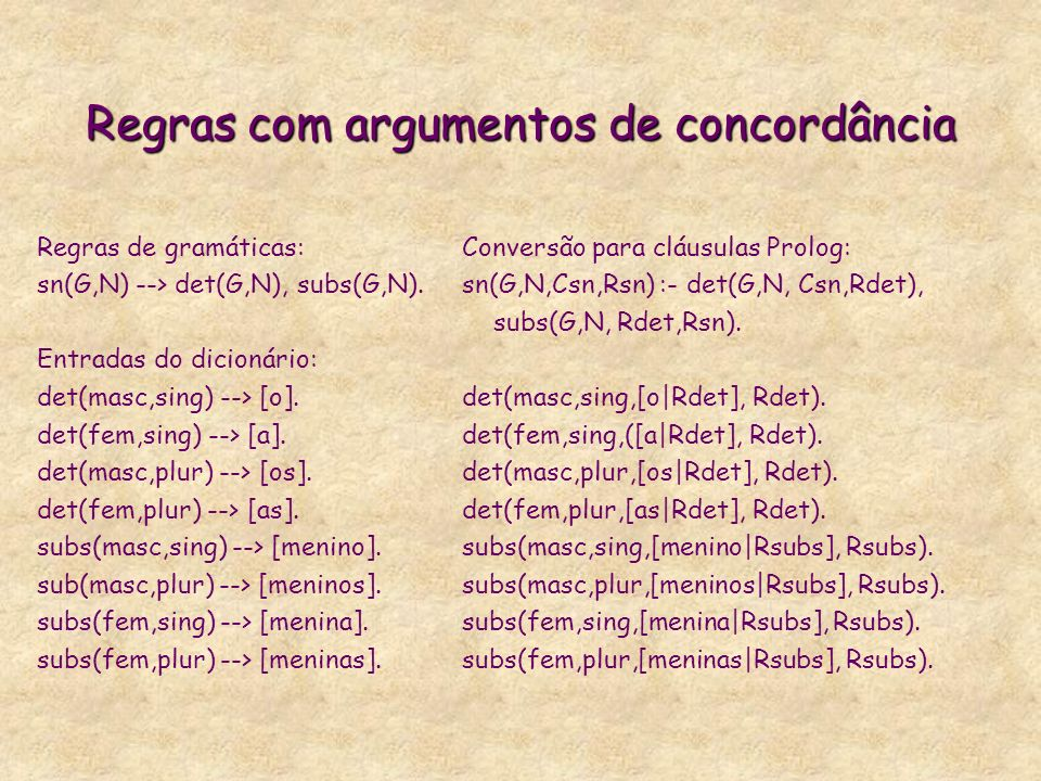 Análise Sintática Profunda em LIFE % I see the gold const (syntr(conjug => @(mood => declar, voice => active), semr(themRoles => @(situation => Pred, partic => @(agent => Subj, percept => DObj) --> const(Subj:syntr(syntcat=>nominal, funct=>subj, optional=>no, agreeFt=>Sva)), const(Pred:syntr(syntcat=>vg, optional=> no, conjug=>Conjug, agreeFt=>Sva), semr(semcat=>percep)), const(DObj:syntr(syntcat=>nominal, funct=>dobj, optional=>no))
