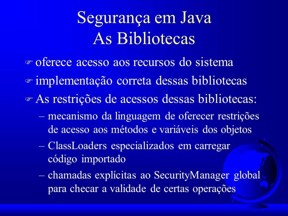 Segurança em Java As Bibliotecas F oferece acesso aos recursos do sistema F implementação correta dessas bibliotecas F As restrições de acessos dessas