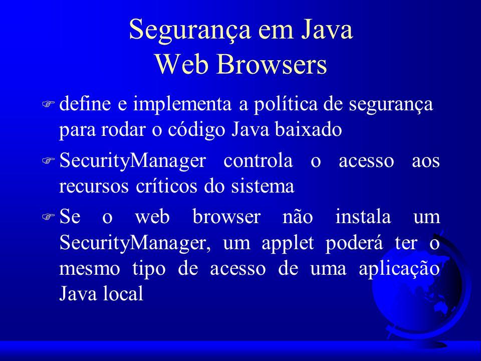 Segurança em Java Web Browsers F define e implementa a política de segurança para rodar o código Java baixado F SecurityManager controla o acesso aos