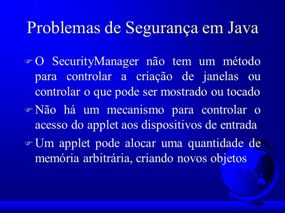 Problemas de Segurança em Java F O SecurityManager não tem um método para controlar a criação de janelas ou controlar o que pode ser mostrado ou tocad