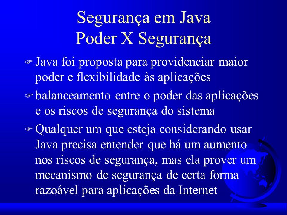 Segurança em Java Poder X Segurança F Java foi proposta para providenciar maior poder e flexibilidade às aplicações F balanceamento entre o poder das