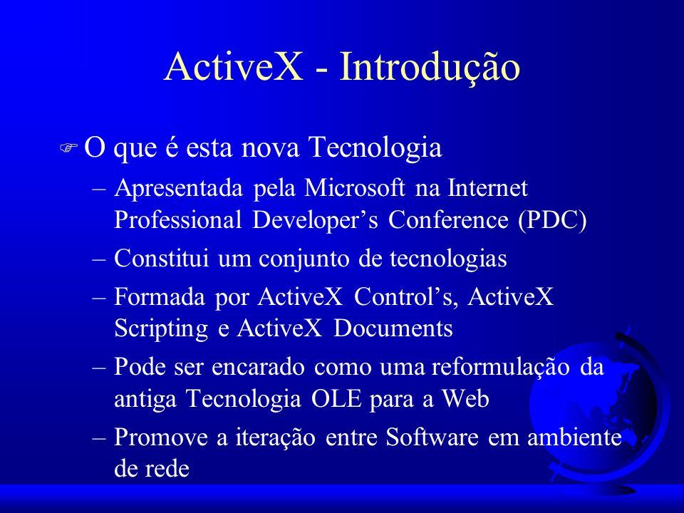 ActiveX - Introdução F O que é esta nova Tecnologia –Apresentada pela Microsoft na Internet Professional Developers Conference (PDC) –Constitui um con