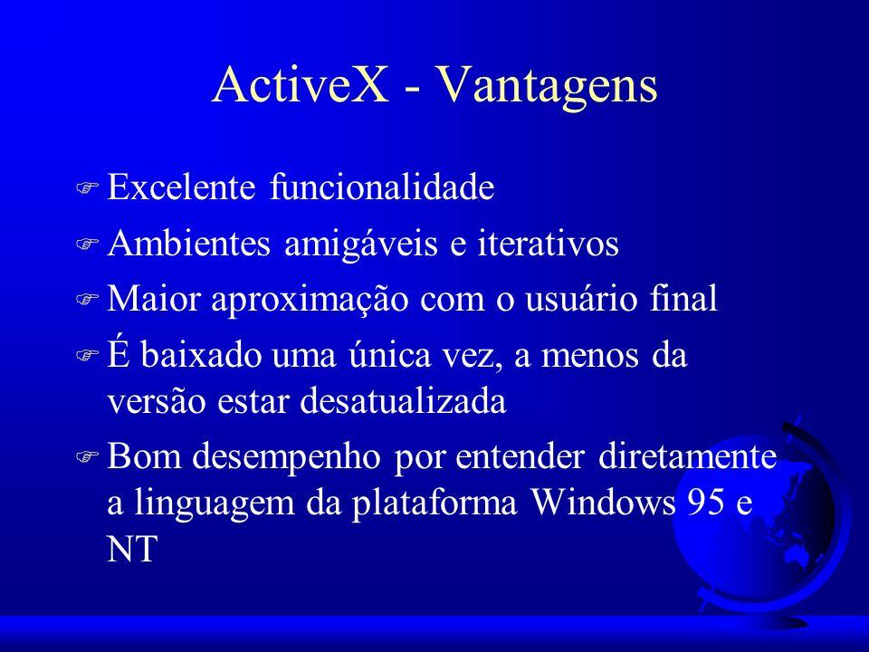 ActiveX - Vantagens F Excelente funcionalidade F Ambientes amigáveis e iterativos F Maior aproximação com o usuário final F É baixado uma única vez, a