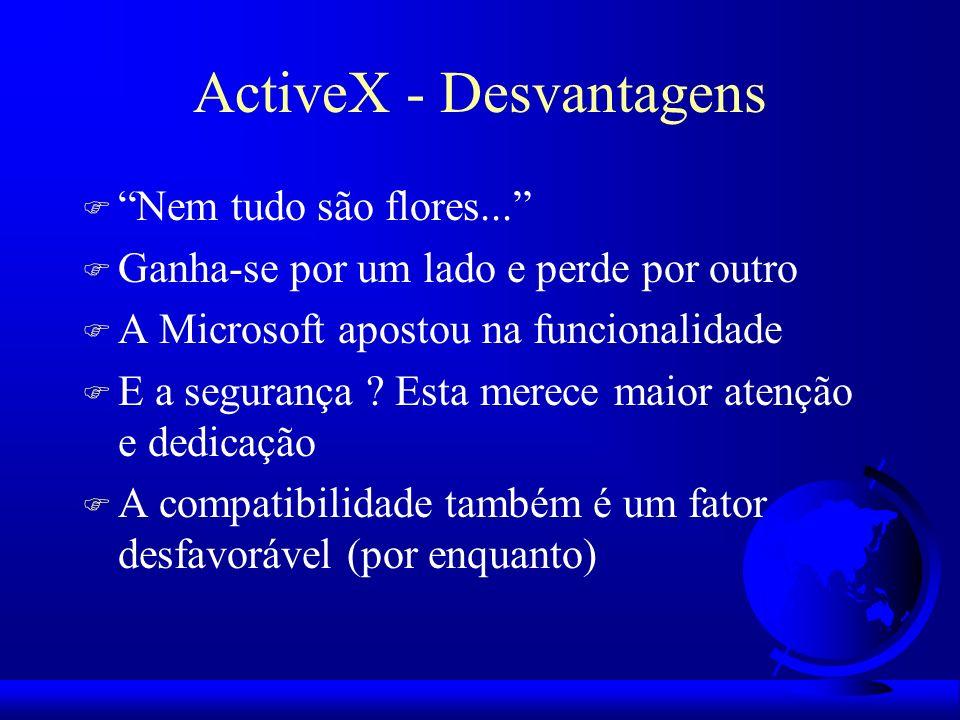 ActiveX - Desvantagens F Nem tudo são flores... F Ganha-se por um lado e perde por outro F A Microsoft apostou na funcionalidade F E a segurança ? Est