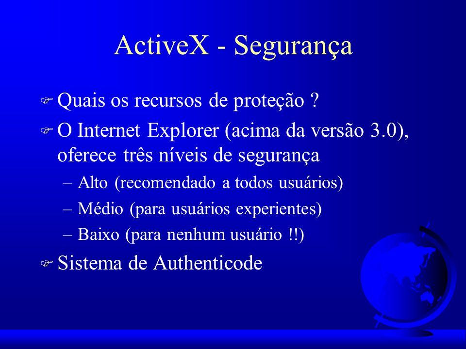 ActiveX - Segurança F Quais os recursos de proteção ? F O Internet Explorer (acima da versão 3.0), oferece três níveis de segurança –Alto (recomendado