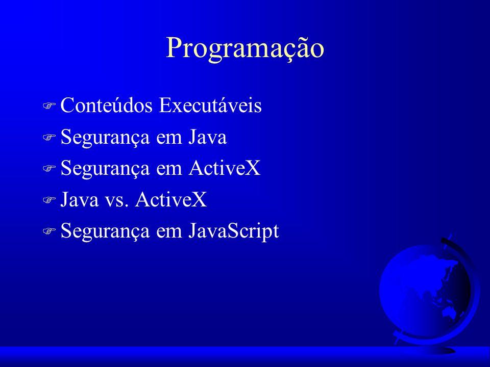 Programação F Conteúdos Executáveis F Segurança em Java F Segurança em ActiveX F Java vs. ActiveX F Segurança em JavaScript