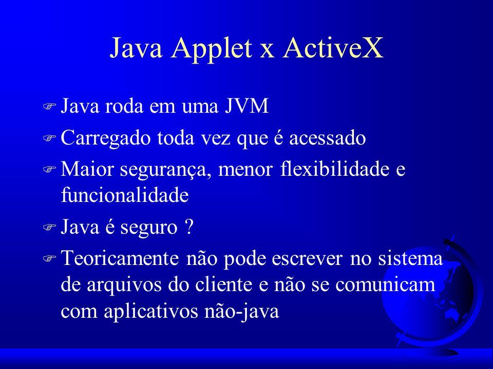 Java Applet x ActiveX F Java roda em uma JVM F Carregado toda vez que é acessado F Maior segurança, menor flexibilidade e funcionalidade F Java é segu