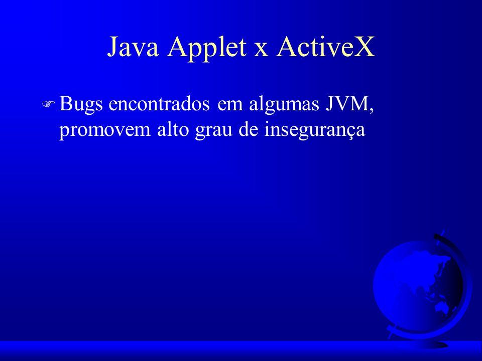 Java Applet x ActiveX F Bugs encontrados em algumas JVM, promovem alto grau de insegurança