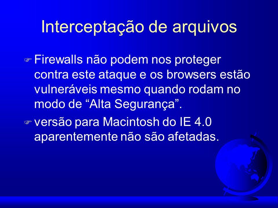 Interceptação de arquivos F Firewalls não podem nos proteger contra este ataque e os browsers estão vulneráveis mesmo quando rodam no modo de Alta Seg