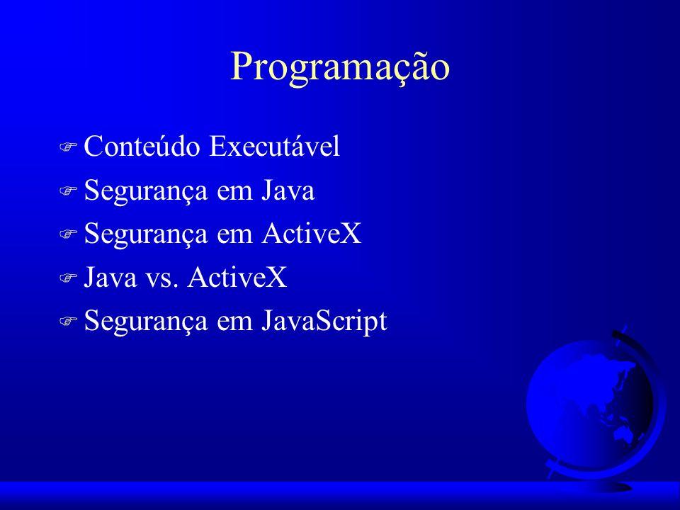 Programação F Conteúdo Executável F Segurança em Java F Segurança em ActiveX F Java vs. ActiveX F Segurança em JavaScript