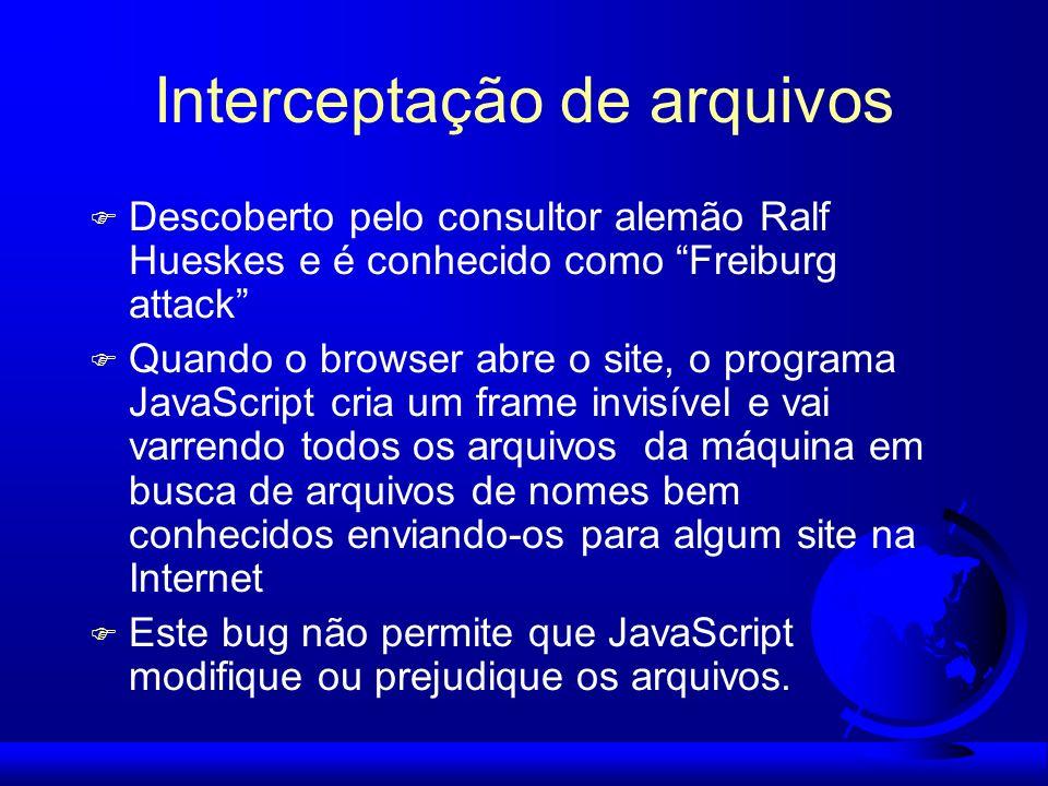 Interceptação de arquivos F Descoberto pelo consultor alemão Ralf Hueskes e é conhecido como Freiburg attack F Quando o browser abre o site, o program