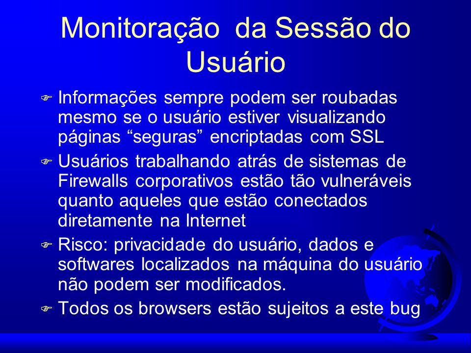 Monitoração da Sessão do Usuário F Informações sempre podem ser roubadas mesmo se o usuário estiver visualizando páginas seguras encriptadas com SSL F