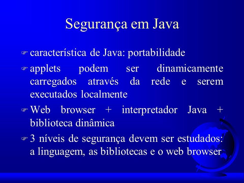 Segurança em Java F característica de Java: portabilidade F applets podem ser dinamicamente carregados através da rede e serem executados localmente F