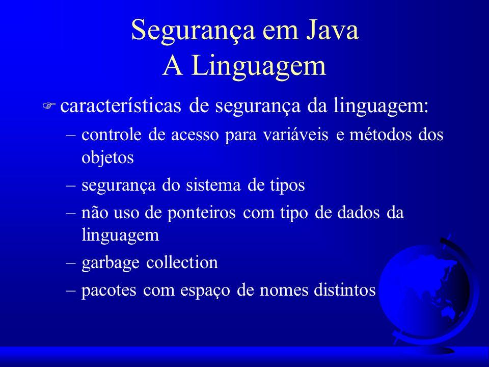 Segurança em Java A Linguagem F características de segurança da linguagem: –controle de acesso para variáveis e métodos dos objetos –segurança do sist