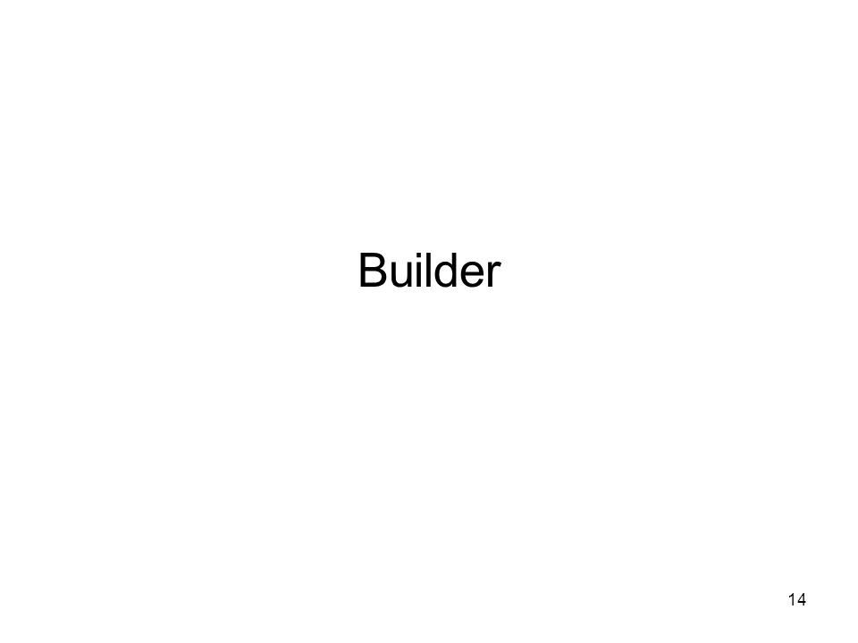 15 Builder O padrão Builder separa a construção de um objeto complexo da sua representação de tal forma que o mesmo processo de construção possa criar diferentes representações.