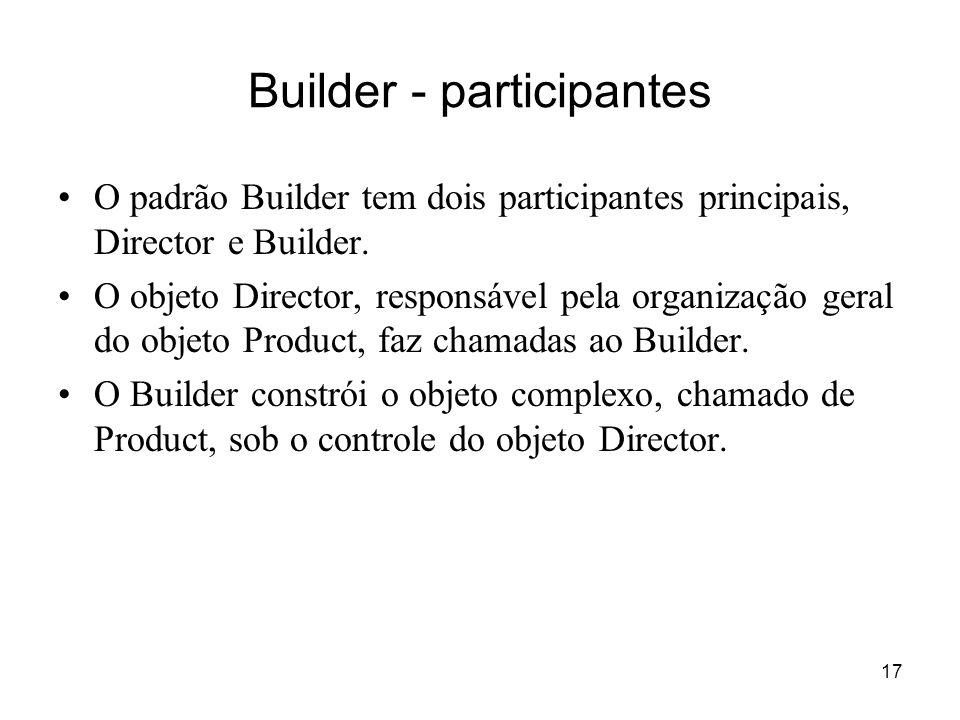 18 Builder - aplicabilidade O padrão Builder pode ser aplicado em situações em que alguma coisa (o produto) é formada (criada, construída) a partir de partes menores.