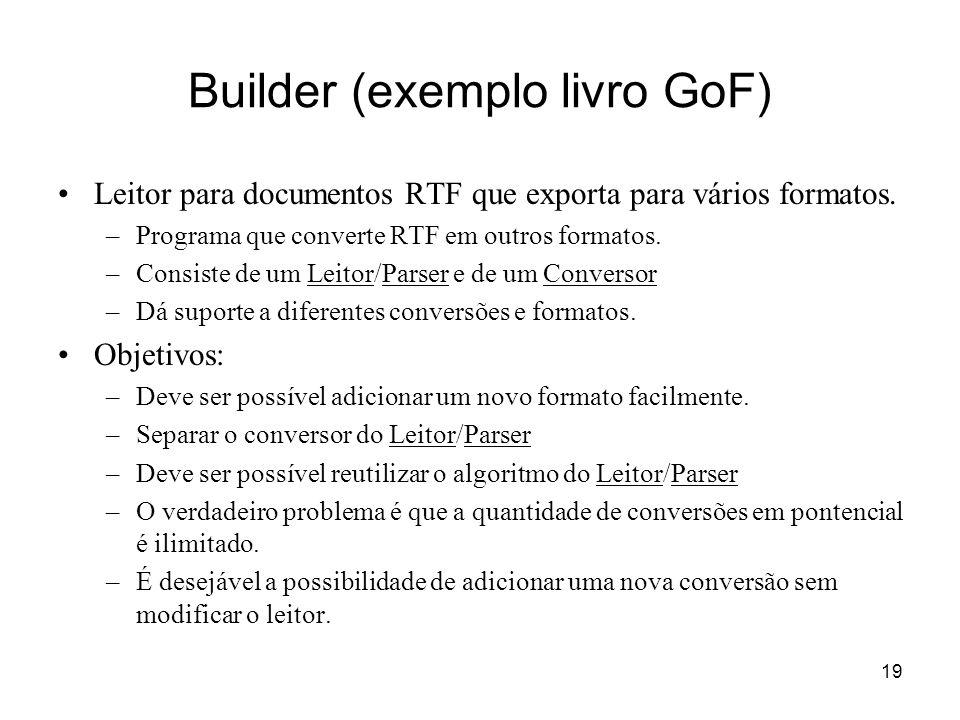 20 Builder (exemplo livro GoF) Cada classe conversora é chamada um BUILDER e a classe leitora é o DIRECTOR.