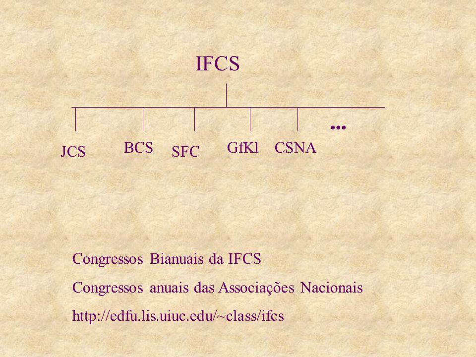 IFCS BCS SFC GfKl JCS Congressos Bianuais da IFCS Congressos anuais das Associações Nacionais http://edfu.lis.uiuc.edu/~class/ifcs CSNA