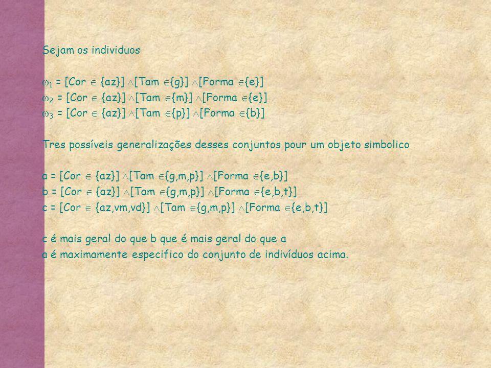 Sejam os individuos 1 = [Cor {az}] [Tam {g}] [Forma {e}] 2 = [Cor {az}] [Tam {m}] [Forma {e}] 3 = [Cor {az}] [Tam {p}] [Forma {b}] Tres possíveis generalizações desses conjuntos pour um objeto simbolico a = [Cor {az}] [Tam {g,m,p}] [Forma {e,b}] b = [Cor {az}] [Tam {g,m,p}] [Forma {e,b,t}] c = [Cor {az,vm,vd}] [Tam {g,m,p}] [Forma {e,b,t}] c é mais geral do que b que é mais geral do que a a é maximamente especifico do conjunto de indivíduos acima.