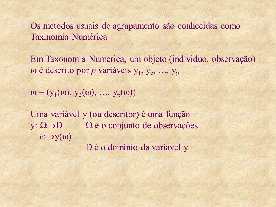 Os metodos usuais de agrupamento são conhecidas como Taxinomia Numérica Em Taxonomia Numerica, um objeto (individuo, observação) é descrito por p variáveis y 1, y c,, y p = (y 1 ( ), y 2 ( ),, y p ( )) Uma variável y (ou descritor) é uma função y: D é o conjunto de observações y( ) D é o domínio da variável y