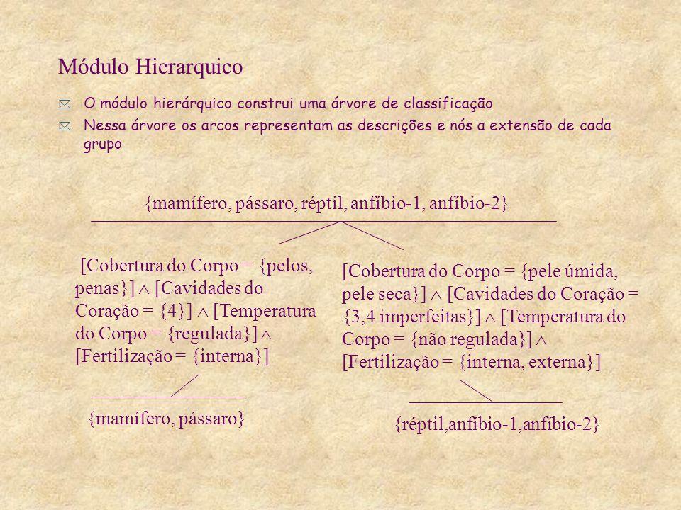 * O módulo hierárquico construi uma árvore de classificação * Nessa árvore os arcos representam as descrições e nós a extensão de cada grupo Módulo Hierarquico [Cobertura do Corpo = {pelos, penas}] [Cavidades do Coração = {4}] [Temperatura do Corpo = {regulada}] [Fertilização = {interna}] [Cobertura do Corpo = {pele úmida, pele seca}] [Cavidades do Coração = {3,4 imperfeitas}] [Temperatura do Corpo = {não regulada}] [Fertilização = {interna, externa}] {mamífero, pássaro, réptil, anfíbio-1, anfíbio-2} {mamífero, pássaro} {réptil,anfíbio-1,anfíbio-2}