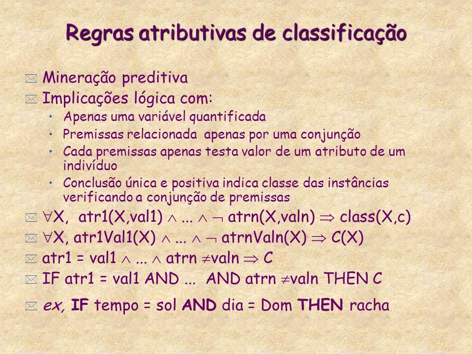 Regras atributivas de classificação * Mineração preditiva * Implicações lógica com: Apenas uma variável quantificada Premissas relacionada apenas por uma conjunção Cada premissas apenas testa valor de um atributo de um indivíduo Conclusão única e positiva indica classe das instâncias verificando a conjunção de premissas * X, atr1(X,val1)...