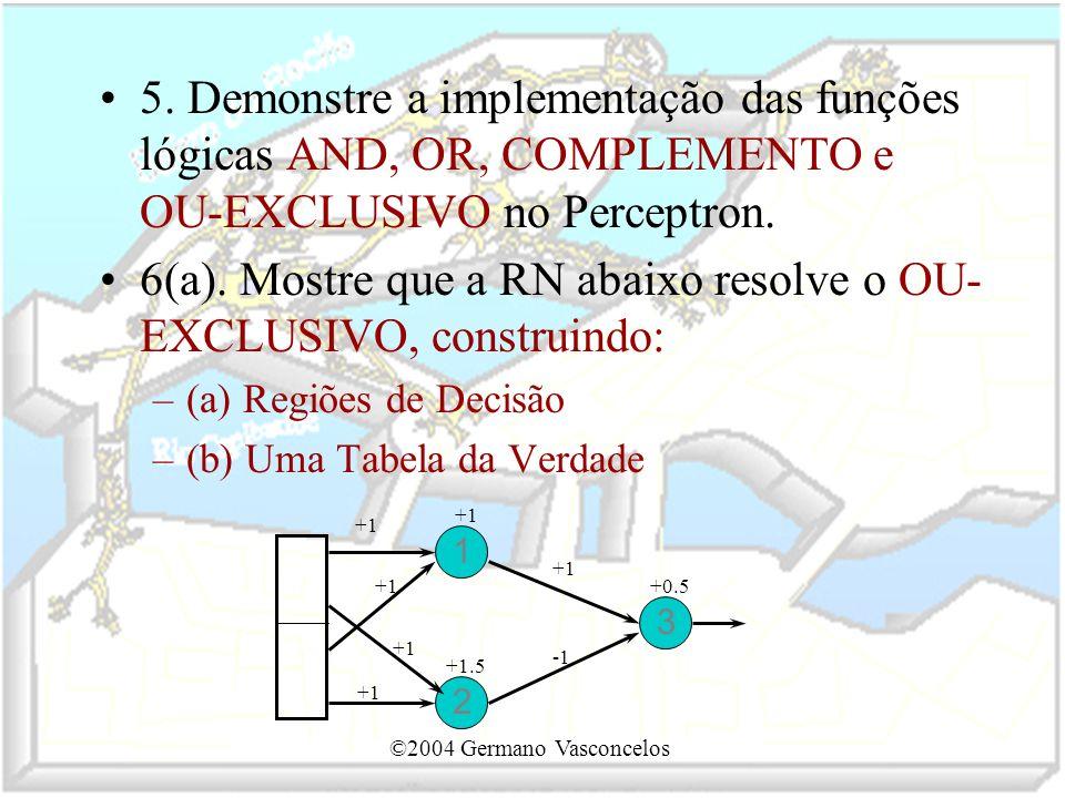 ©2004 Germano Vasconcelos 5. Demonstre a implementação das funções lógicas AND, OR, COMPLEMENTO e OU-EXCLUSIVO no Perceptron. 6(a). Mostre que a RN ab