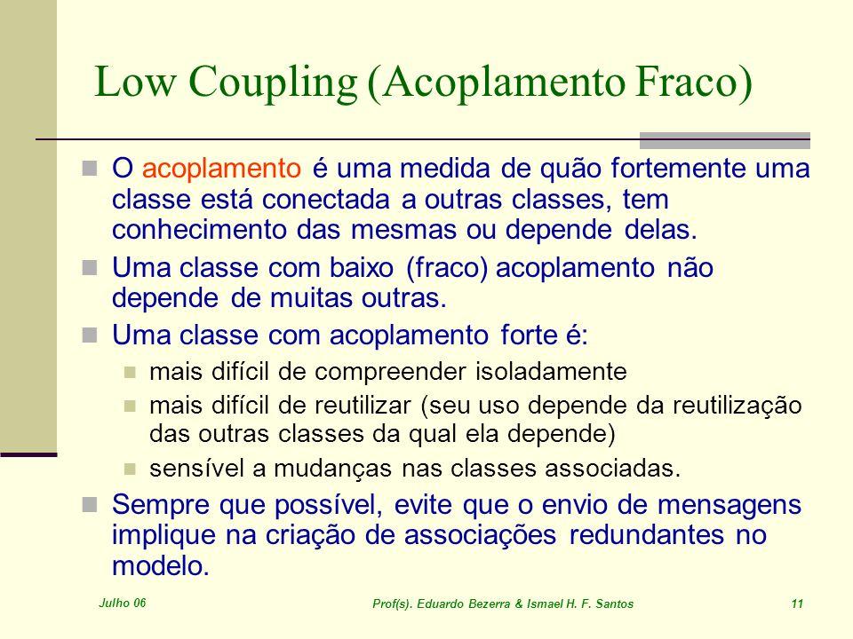 Julho 06 Prof(s). Eduardo Bezerra & Ismael H. F. Santos 11 Low Coupling (Acoplamento Fraco) O acoplamento é uma medida de quão fortemente uma classe e