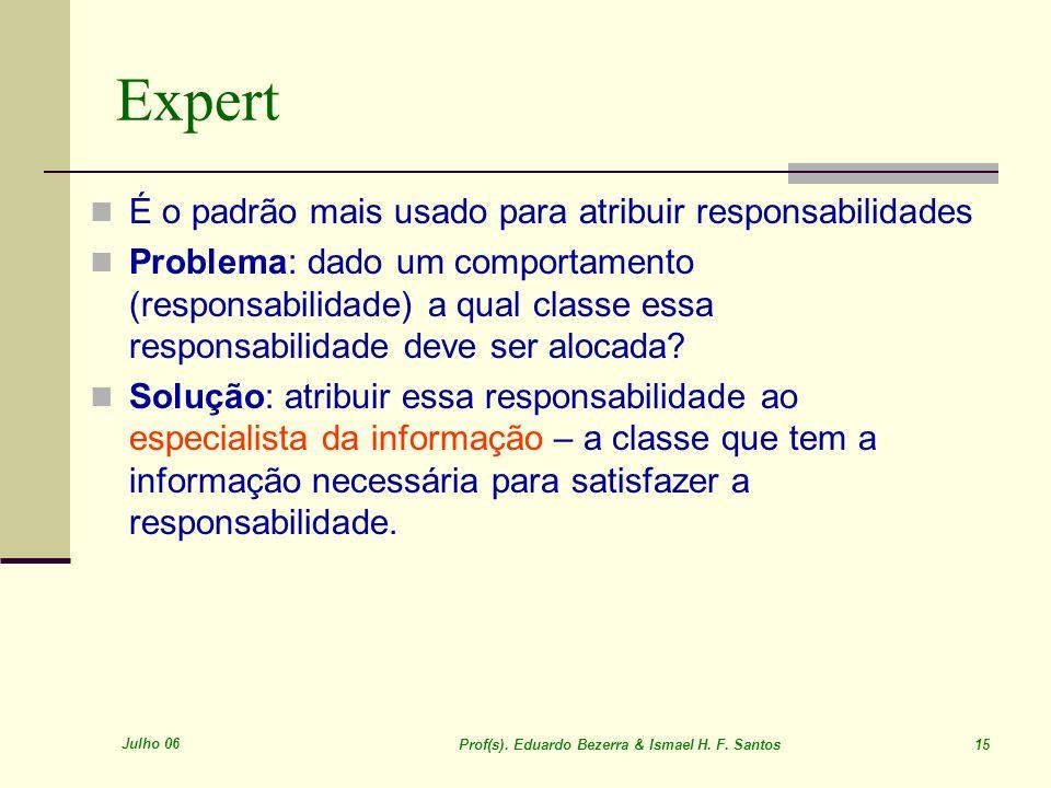 Julho 06 Prof(s). Eduardo Bezerra & Ismael H. F. Santos 15 Expert É o padrão mais usado para atribuir responsabilidades Problema: dado um comportament