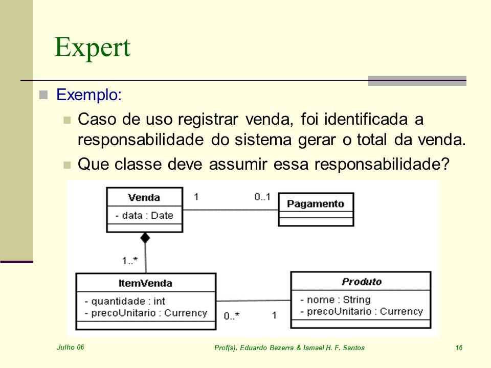 Julho 06 Prof(s). Eduardo Bezerra & Ismael H. F. Santos 16 Expert Exemplo: Caso de uso registrar venda, foi identificada a responsabilidade do sistema