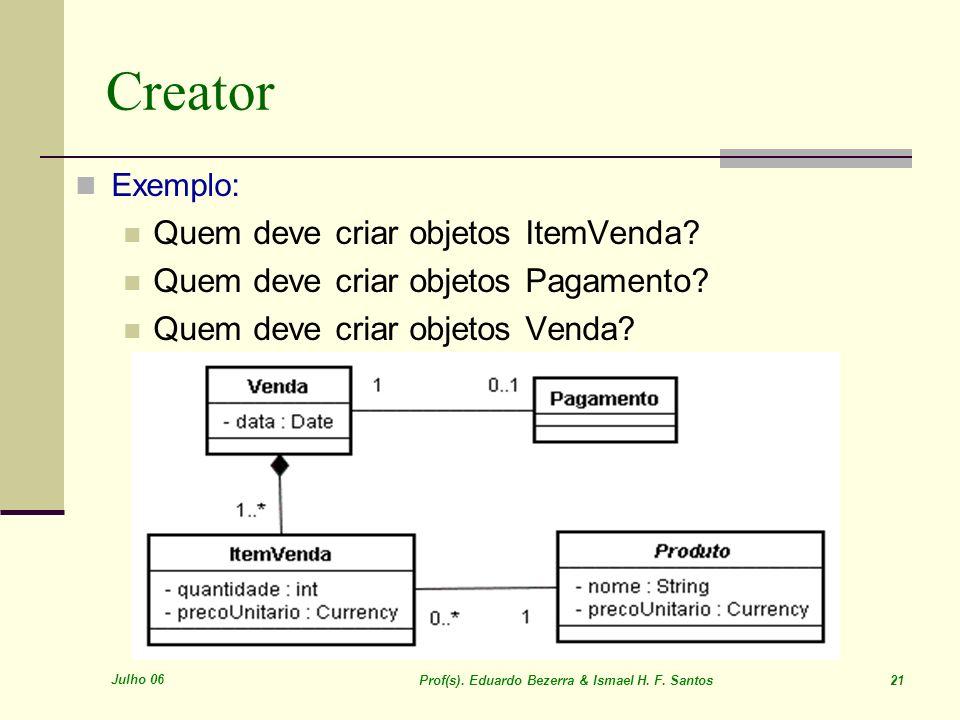 Julho 06 Prof(s). Eduardo Bezerra & Ismael H. F. Santos 21 Creator Exemplo: Quem deve criar objetos ItemVenda? Quem deve criar objetos Pagamento? Quem