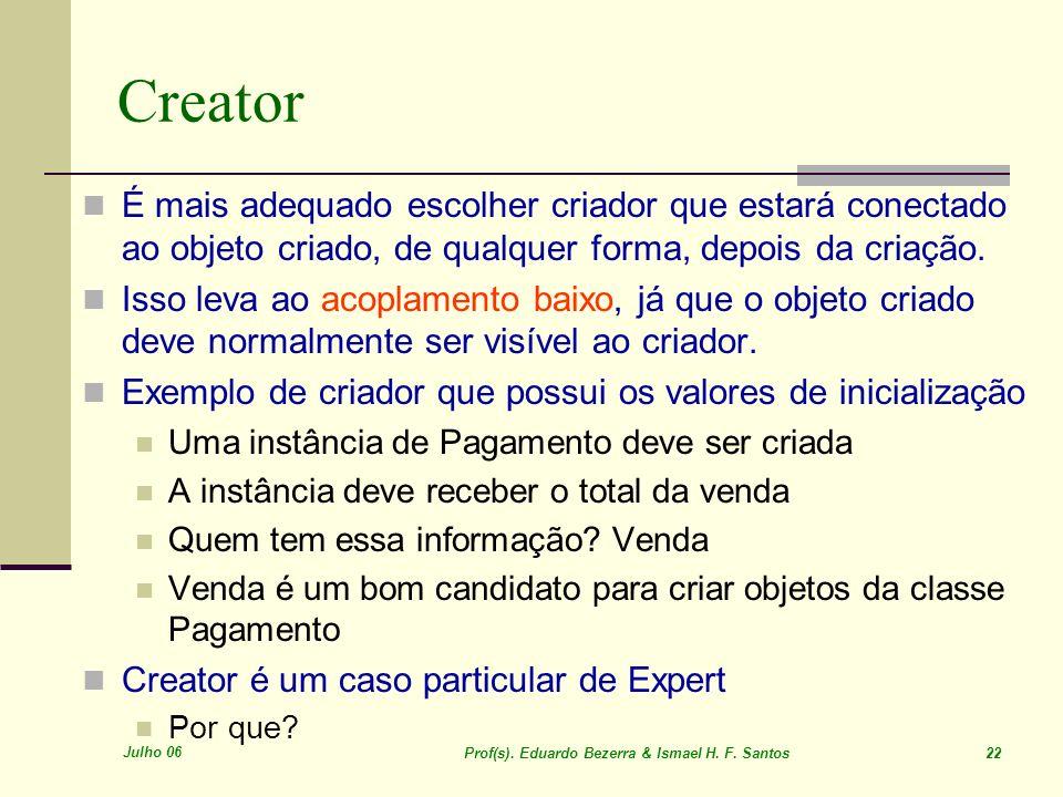 Julho 06 Prof(s). Eduardo Bezerra & Ismael H. F. Santos 22 Creator É mais adequado escolher criador que estará conectado ao objeto criado, de qualquer