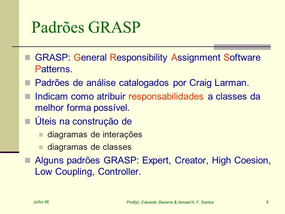 Julho 06 Prof(s). Eduardo Bezerra & Ismael H. F. Santos 6 Padrões GRASP GRASP: General Responsibility Assignment Software Patterns. Padrões de análise