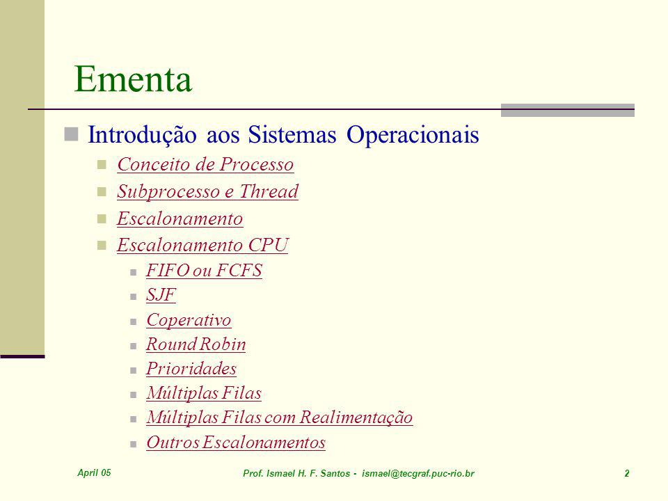 April 05 Prof. Ismael H. F. Santos - ismael@tecgraf.puc-rio.br 93 Multilevel Queue Scheduling