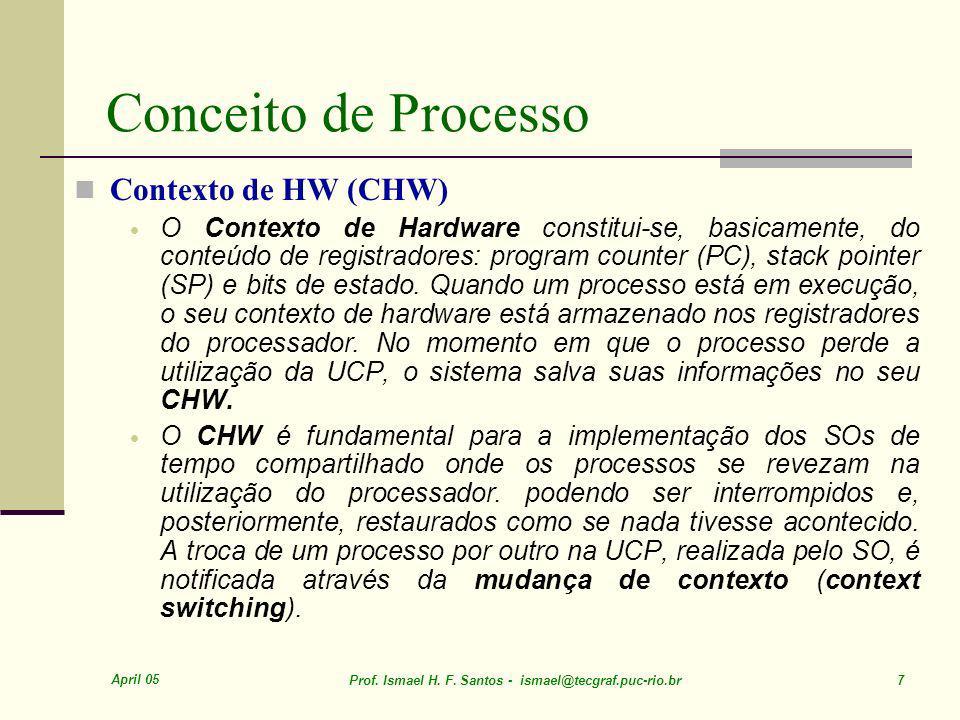 April 05 Prof. Ismael H. F. Santos - ismael@tecgraf.puc-rio.br 48 Escalonamento CPU SOP – CO009