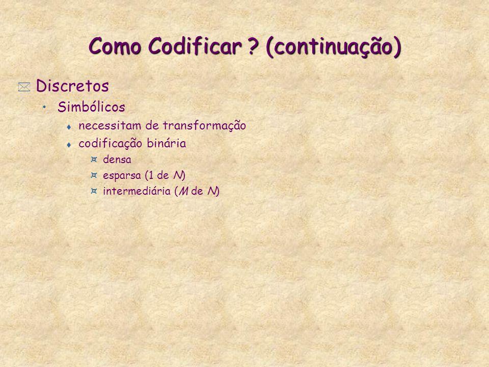 Como Codificar ? (continuação) * Discretos Simbólicos t necessitam de transformação t codificação binária ¤densa ¤esparsa (1 de N) ¤intermediária (M d