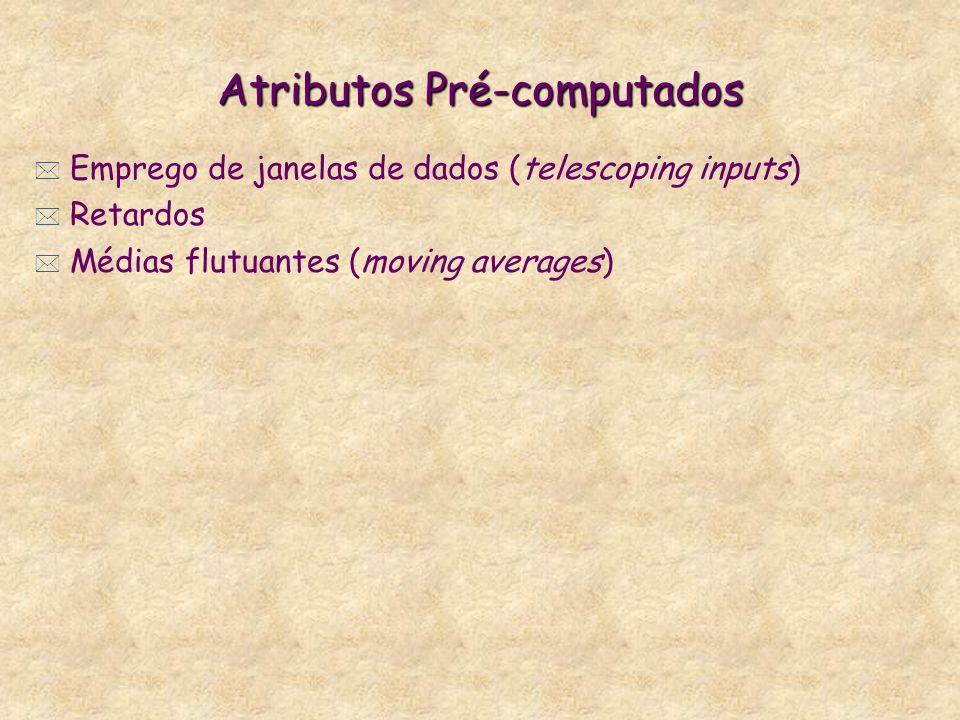 Atributos Pré-computados * Emprego de janelas de dados (telescoping inputs) * Retardos * Médias flutuantes (moving averages)
